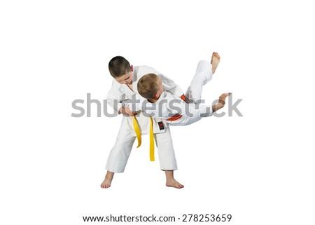 Children are doing high throws judo in judogi #278253659