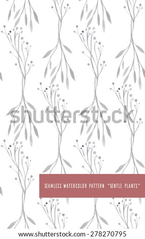 Seamless vector pattern with watercolor plants #278270795