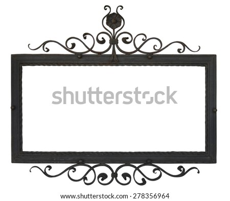 Metal Sign on the wall. Object isolated on white, with clipping path.