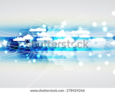 Model of Integration technology with cloud in the sky. Best ideas for Business presentation #278424266