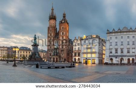 Poland, Krakow - MAY 6: St. Mary's Church. Morning Market Square on May 6, 2015 in Krakow, Poland #278443034