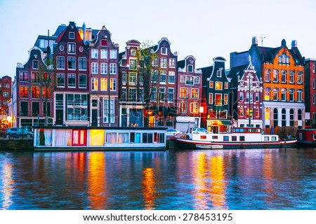 Night city view of Amsterdam, the Netherlands with Amstel river #278453195