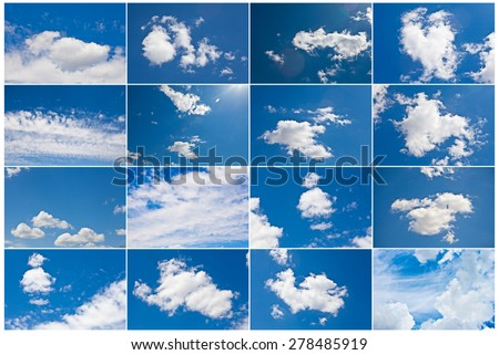 white clouds in the blue sky, a set #278485919