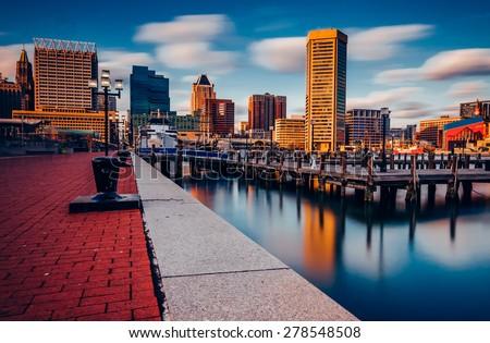 Long exposure of the Baltimore Skyline and Inner Harbor Promenade, Baltimore, Maryland