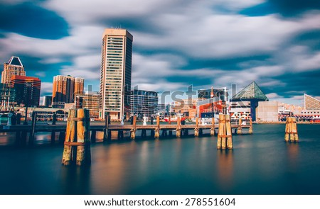 Mid-day long exposure of the Baltimore Inner Harbor Skyline