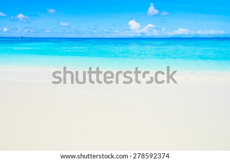 Beautiful tropical beach and sea with blue sky background #278592374