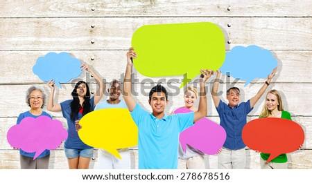 Diversity People Holding Colorful Speech Bubbles Concept #278678516