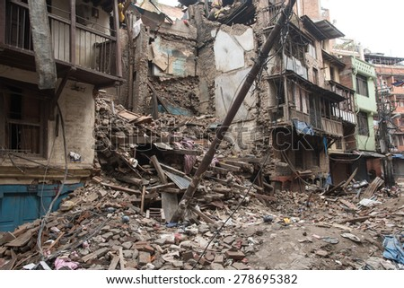 KATHMANDU, NEPAL - APRIL 29, 2015: Durbar Square which was severly damaged after the major earthquake on 25 April 2015. #278695382