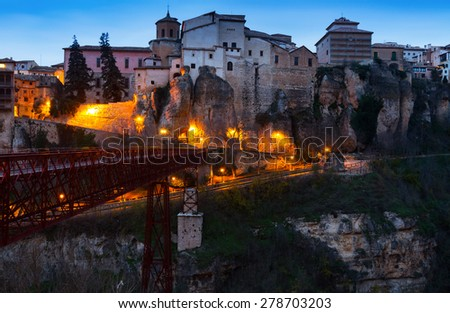 dawn view of Hanging Houses on rocks in Cuenca. Spain #278703203
