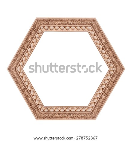Beautiful hexagonal frame isolated on a white background.
