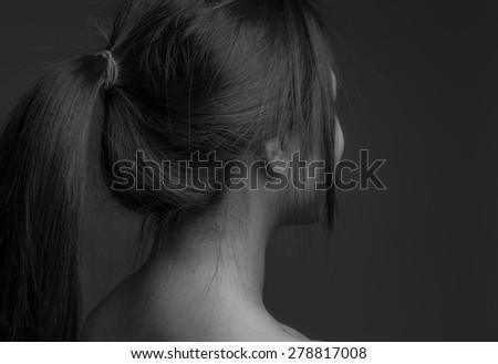 Model isolated on plain background in studio from behind #278817008
