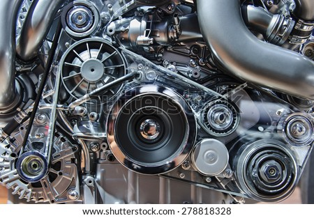 Car engine, modern automobile motor with metal, chrome, steel, plastic parts Royalty-Free Stock Photo #278818328