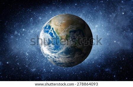 Earth and galaxy. Elements of this image furnished by NASA. Royalty-Free Stock Photo #278864093