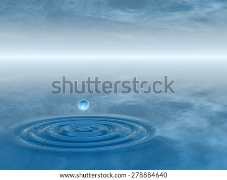 Concept or conceptual blue liquid drop falling in water with ripples and waves background metaphor to nature, natural, summer, spa, drink, cool, business, environment, rain or health design #278884640