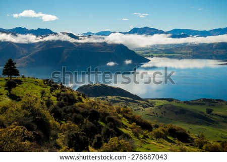 The view of beautiful Wanaka hiking up Roy's Peak  #278887043