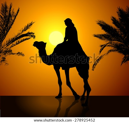 Bedouin with camel at sunset. Vector #278925452