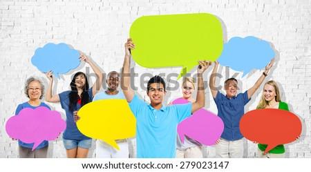 Diversity People Holding Colorful Speech Bubbles Concept #279023147