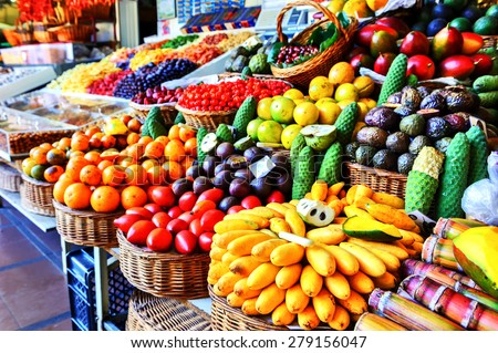 Fresh exotic fruits in Mercado Dos Lavradores.  Funchal, Madeira #279156047