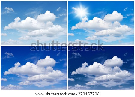 Sky background for Winter, Spring, Summer, Autumn. Four seasons. Environment concept #279157706