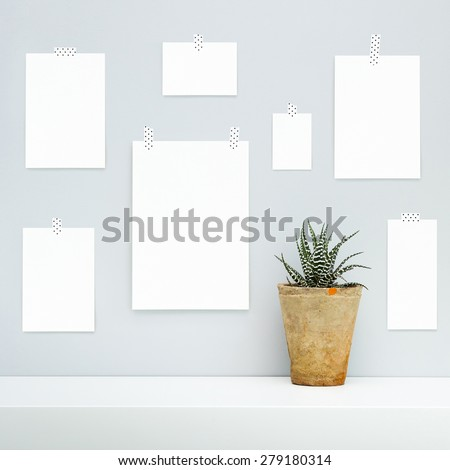 Hipster scandinavian interior design.  Mood board with empty pieces of paper hanging on the gray wall with potted succulent flower. Mock up. #279180314
