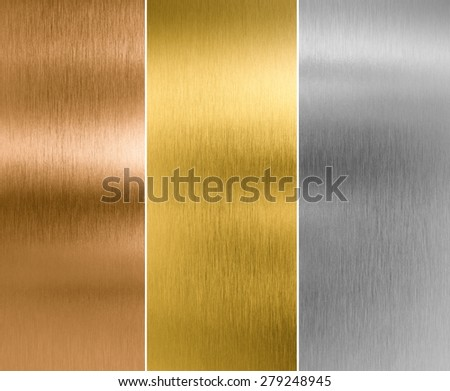 silver, gold and bronze metal texture backgrounds Royalty-Free Stock Photo #279248945