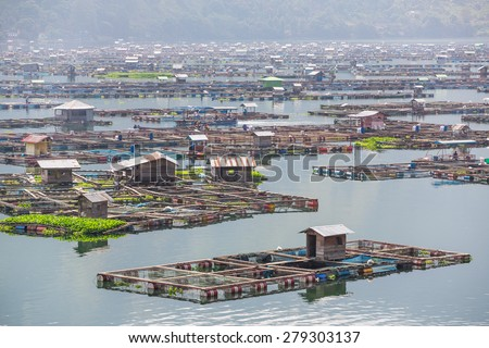 Traditional fish cages on the lake Toba, North Sumatra, Indonesia #279303137