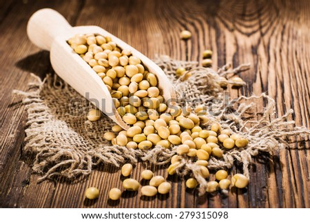 Soybeans on a wooden background.  rustic style #279315098