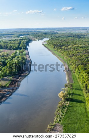 aerial view of fields near Wroclaw city in Poland Royalty-Free Stock Photo #279357629