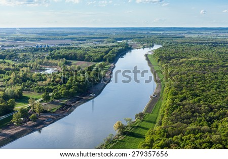 aerial view of fields near Wroclaw city in Poland Royalty-Free Stock Photo #279357656