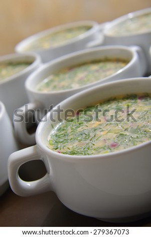 green soup. okroshka, traditional Russian cold soup. selective focus #279367073