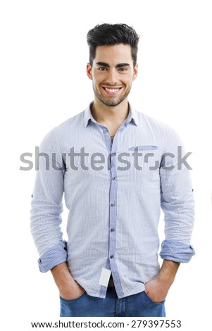 Portrait of happy handsome young man isolated on white background #279397553