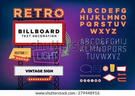 Vector set Retro neon sign, vintage billboard, bright signboard, light banner  Royalty-Free Stock Photo #279448916