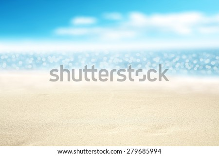 landscape of sea sand sky and summer time  #279685994