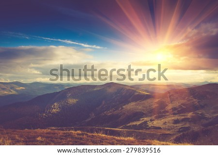 Beautiful landscape in the mountains at sunshine. Filtered image:cross processed vintage effect.  Royalty-Free Stock Photo #279839516