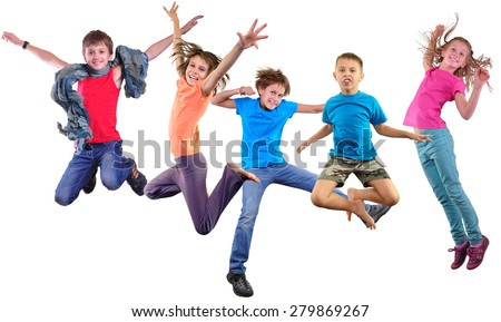Group happy dancing jumping together children isolated over white background. Photo collage. Childhood, active lifestyle, sports and happiness concept. #279869267