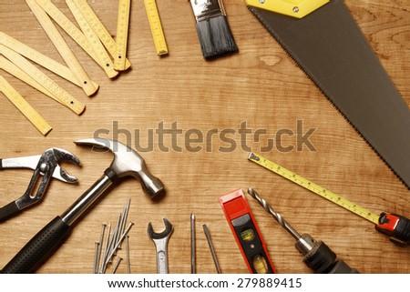 Assorted work tools on wood #279889415