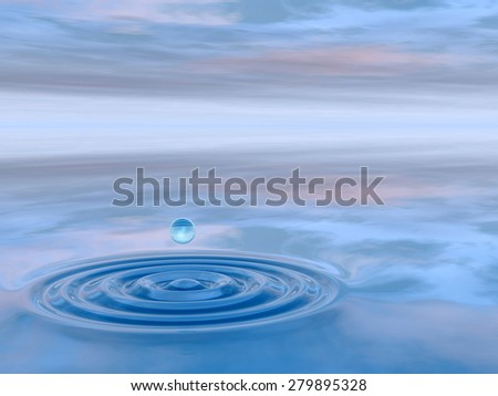 Concept or conceptual blue liquid drop falling in water with ripples and waves background metaphor to nature, natural, summer, spa, drink, cool, business, environment, rain or health design #279895328