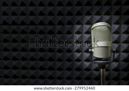 Professional Microphone in the radio studio