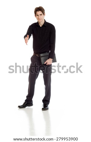 Model isolated with hand shake #279953900