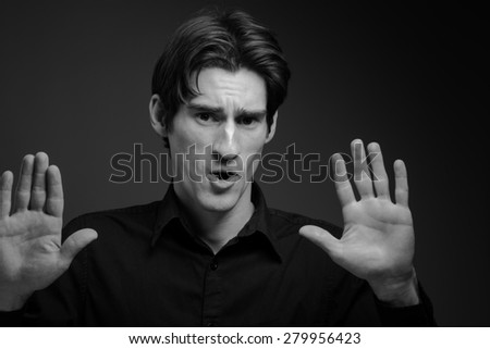 Model isolated stop sign with hand #279956423