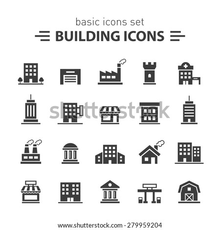 Building icons set. Royalty-Free Stock Photo #279959204