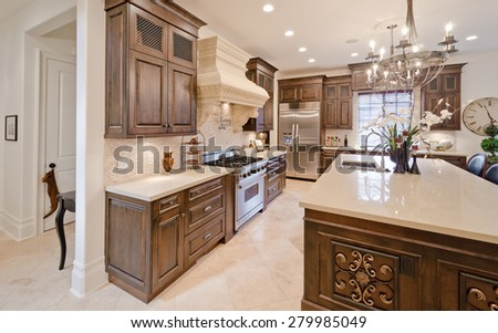 Interior design of a luxury modern kitchen. #279985049