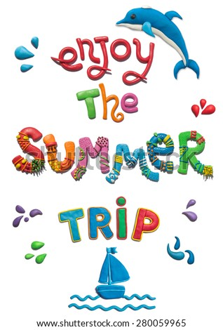 Handmade plasticine poster of summer typography and objects. Enjoy the summer trip lettering. All objects handmade and huge resolutions.