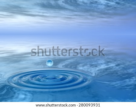 Concept or conceptual blue liquid drop falling in water with ripples and waves background  metaphor to nature, natural, summer, spa, drink, cool, business, environment, rain or health design #280093931