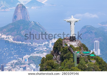 Aerial view of Rio de Janeiro with Christ Redeemer and Corcovado Mountain Royalty-Free Stock Photo #280109546