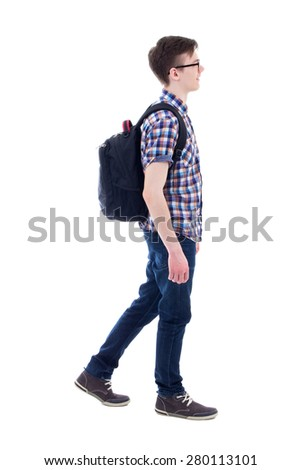 handsome teenage boy with backpack walking isolated on white background #280113101