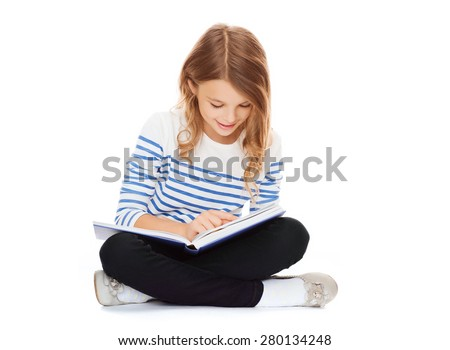 education and school concept - little student girl sitting on floor and reading book #280134248