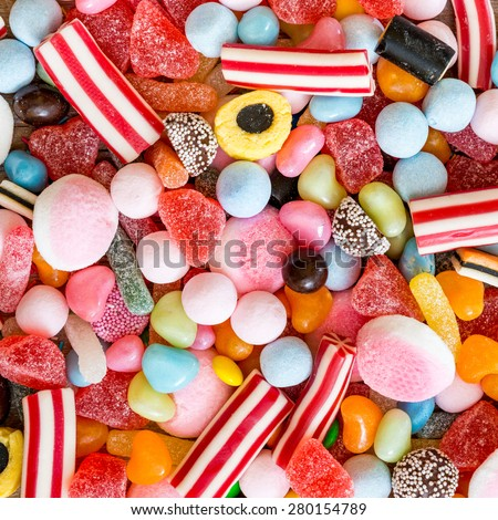 colorful candies and jellies as background Royalty-Free Stock Photo #280154789