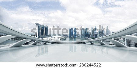 Empty floor and modern cityscape Royalty-Free Stock Photo #280244522