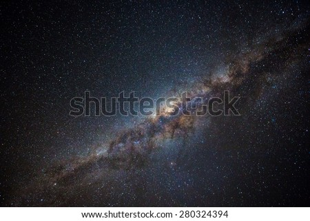 Clearly milky way found in Australia outback.  Royalty-Free Stock Photo #280324394